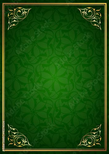 Yeşil fon ve altın çerçeve