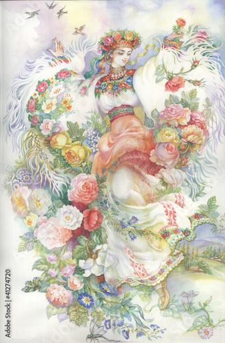 Girl in traditional costume. Gutsulka.