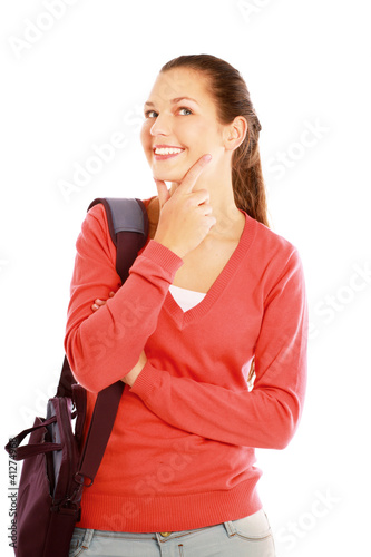 A college girl with a bag , isolated on white background