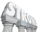 Strong Word on Marble Stone Columns Legendary Strength poster