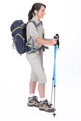 A hiker with her gear