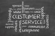 Customer service word cloud on chalkboard