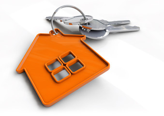 House keys with orange house shaped keyring