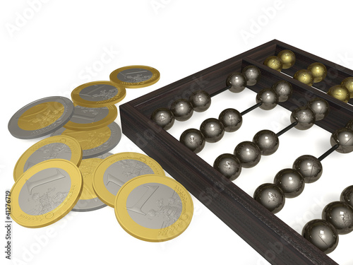 Abacus and coins