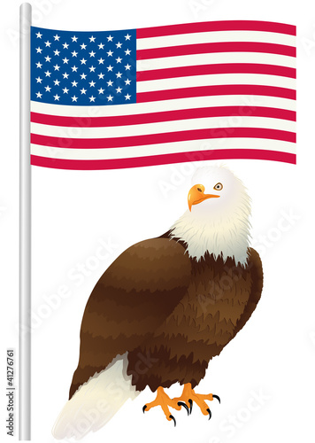 Bald eagle standing under the US flag. Vector