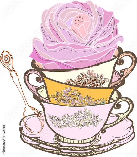 tea cup background with flower