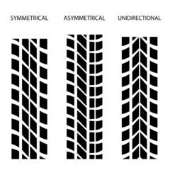 vector tyre symmetrical asymmetrical unidirectional