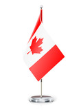 Canadian flag on flagstaff and support vector illustration