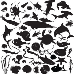 set of silhouettes of marine inhabitants