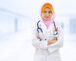 Confident Muslim doctor