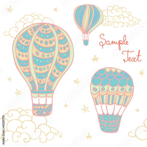 seamless colorful flying  hot air balloon pattern.clipping mask