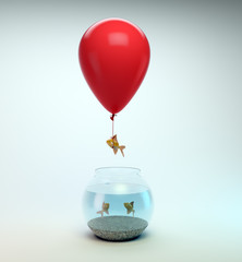 Gold fish flying away from a fishbowl