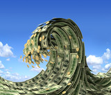 Dollars wave over blue sky