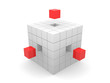 teamwork business abstract concept with red cubes