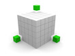 teamwork business concept with green cubes