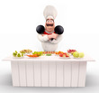 Chef with pan and lots of vegetable