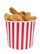 Fried chicken in big red white stripes bucket box