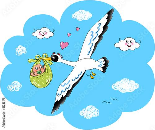 Cicogna con neonato che vola fra le nuvole.
