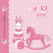 Vector baby girl scrapbook
