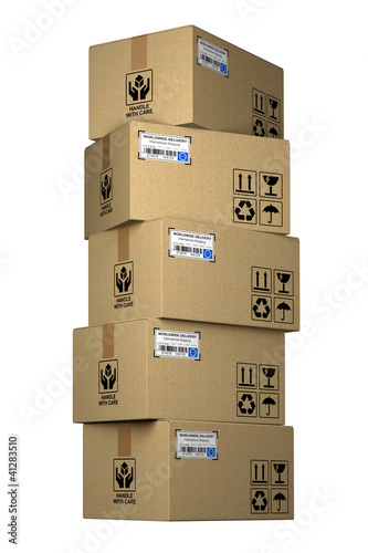 Cardboard boxes stack