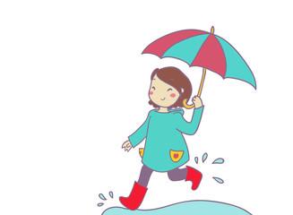 allegra bambina corre sotto la pioggia