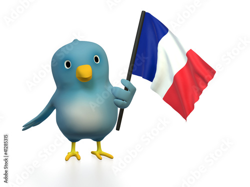 "Blue bird (""Bluebert"") with the flag of france"
