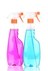 Two cleaning sprays isolated on white