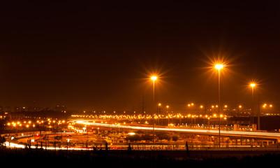 traffic car light stream at night