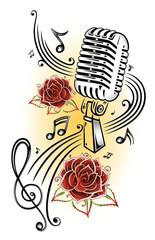 Musik, Musiknoten, Notenschlüssel, micro, rot, gelb