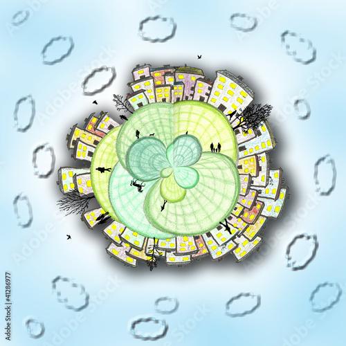 Leinwandbild Motiv Dorf am Himmel
