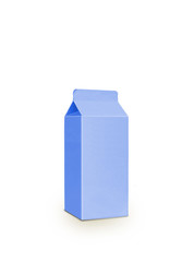 Blue milk Box per half liter, isolated on white