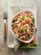 vegetarian rice salad with tofu and brown rice