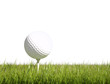 Golf ball green grass isolated background