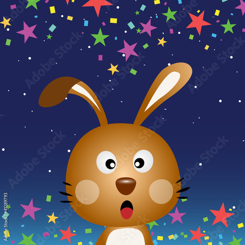 Cute rabbit in the night sky