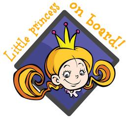 "Cartoon ""Baby on board"" sign. Little Princess."