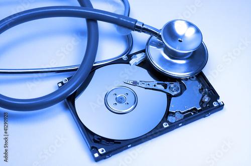 Disco duro, fonendoscopio, reparar, azul