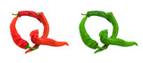 Letter Q composed of green and red chili peppers