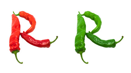 Letter R composed of green and red chili peppers