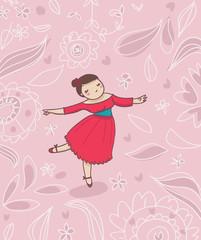 ballerina su sfondo decorato