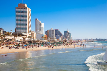 Public beach in Tel-Aviv on Mediterranean sea. Israel