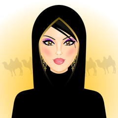Vector illustration of arab woman in the desert