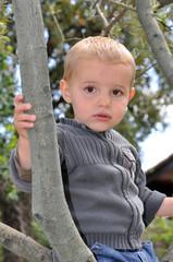 petit enfant blond dans la forêt