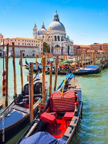 Gondolas with Santa Maria della Salute in Venice, Italy