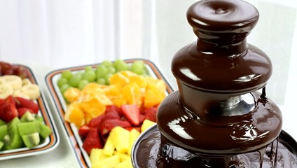 Chocolate fountain and fruit