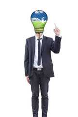 Businessman with light bulb concept.