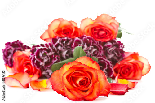 beautiful bouquet of red roses with carnations