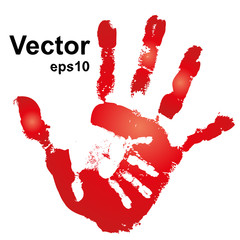 Vector conceptual woman and child hand print