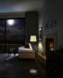 Hotel room / Loft interior with full moon light