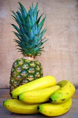 Pineapple and bananas color image