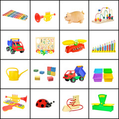 A collage of children's toys